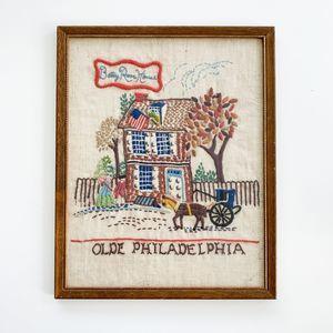 Vintage Olde Philadelphia Cross-Stitch with Frame